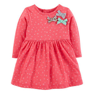 New Carters Baby Girl Pink Bow Dress Clothes